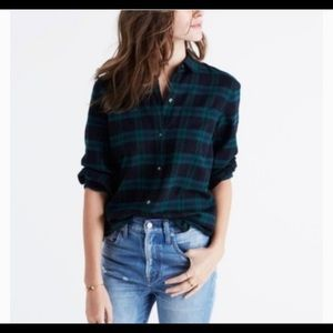 Madewell ex boyfriend flannel in black watch plaid